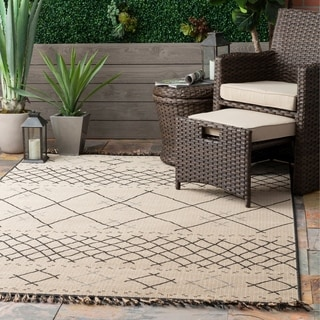 The Curated Nomad Brannan Ivory Transitional Indoor/Outdoor Cross Trellis Tassel Area Rug
