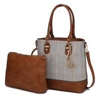 MKF Collection Mya Plaid Tote with Crossbody Bag by Mia K. Farrow