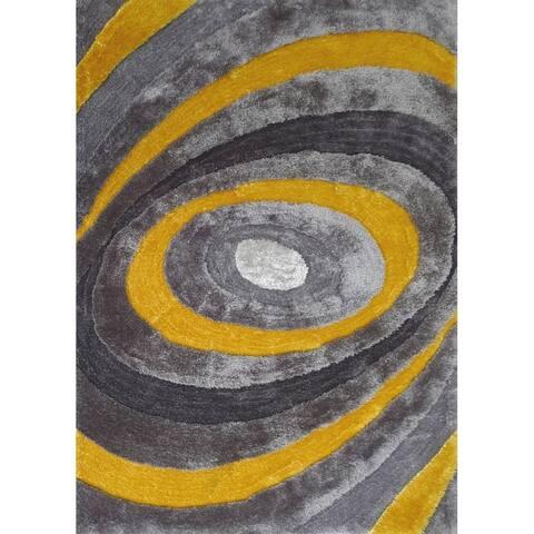 "Yellow Abstract 8x11 Rug - 7'6"" x 10'3"""