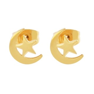 18k Gold-Plated Stainless Steel Hypoallergenic Crescent Moon and Star Stud Earrings for Women with Friction Closure, IPG
