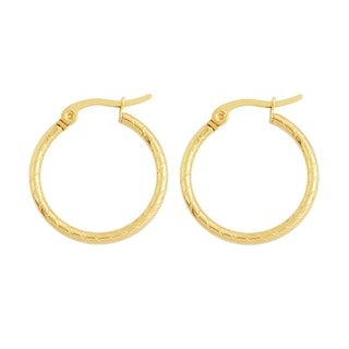 18k Gold-Plated Hypoallergenic Hoop Earrings for Women with Click-Top Closure, 20mm