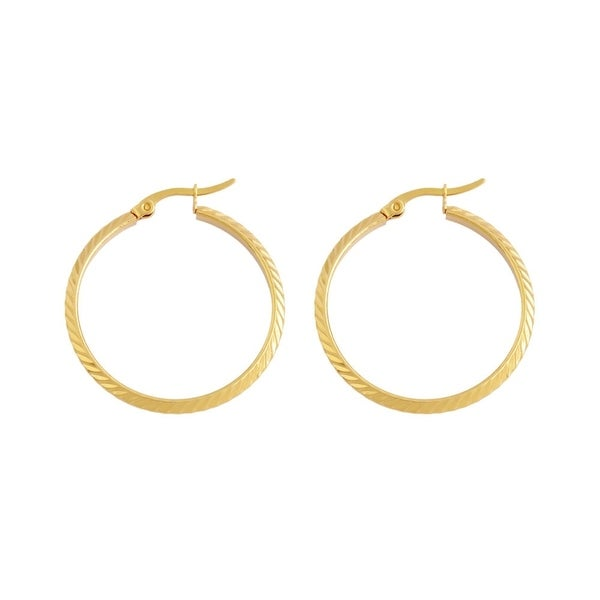 18k Gold Plated Stainless Steel Hypoallergenic Hoop Earrings For Women With Click Top Closure