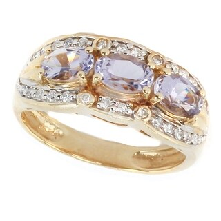 Michael Valitutti 14K Yellow Gold Iolite & Diamond 3 stone Ring