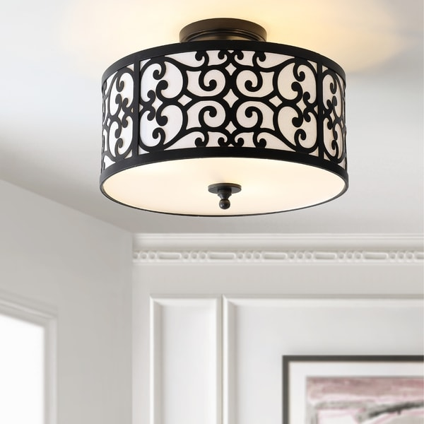 "Katherine 15"" Metal LED Semi-Flush Mount, Oil Rubbed Bronze by JONATHAN Y"