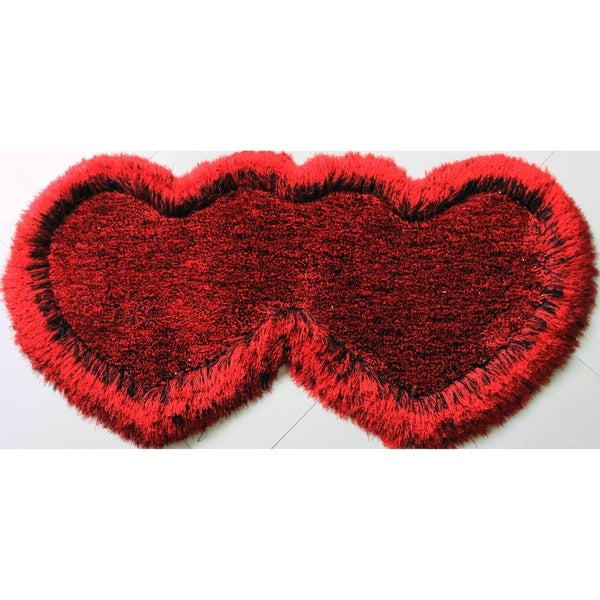 "Double Heart Shape Shag Area Rug (28"" x 55""). Opens flyout."