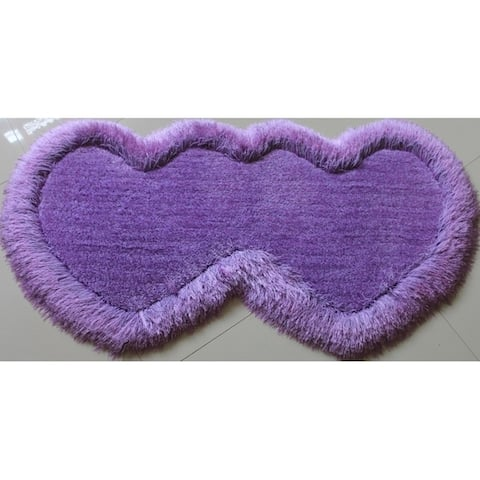 "Double Heart Shape Shag Area Rug (28"" x 55"")"