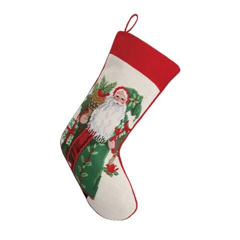 Lynn Haney Laurel Berry Santa Needlepoint Stocking