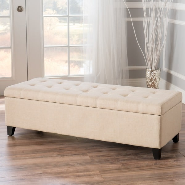 Fabric Storage Bench Microfiber Button Tufted Bedroom Seat: Shop Mission Tufted Fabric Storage Ottoman Bench By