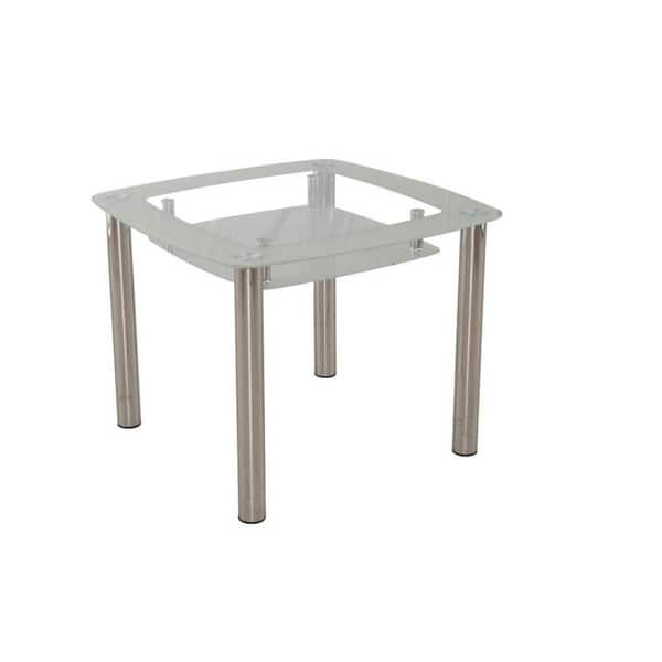 Shop New Spec Square Double Shelf Glass Dining Table Silver On Sale Overstock 25611337