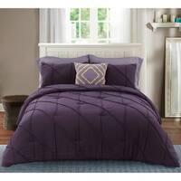 Nolan Washed Microfiber Comforter Set in Purple