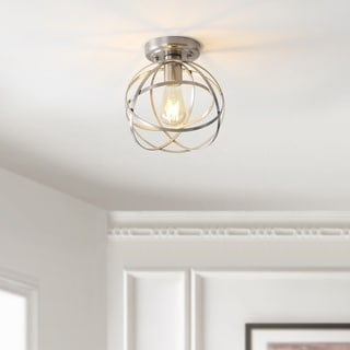 "Link to Alba 8.5"" Metal Orb LED Flush Mount, Nickel by JONATHAN  Y - Silver Similar Items in Flush Mount Lights"