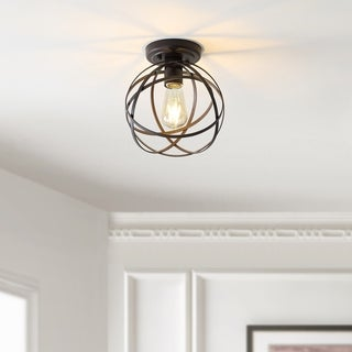 """Link to Alba 8.5"""" Orb Metal LED Flush Mount, Oil Rubbed Bronze by JONATHAN Y Similar Items in Flush Mount Lights"""