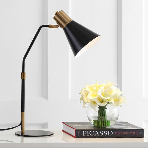 """Apollo 22.5"""" Metal LED Task Lamp, Black/Brass Gold by JONATHAN Y"""