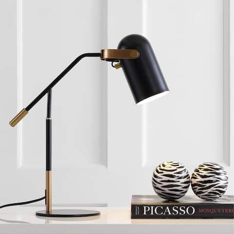 "Edison 19.25"" Metal LED Task Lamp, Black/Brass Gold by JONATHAN Y"