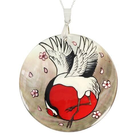 Gems en Vogue Palladium Silver Hand Painted Mother of Pearl Shell Crane Bird & Flower Pendant