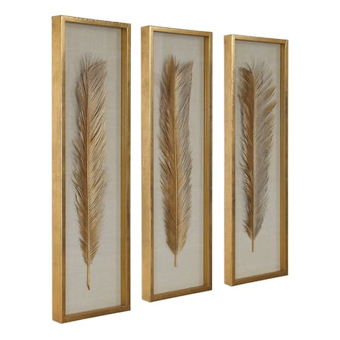 Uttermost Palma Gold Leaf Shadow Boxes (Set of 3)