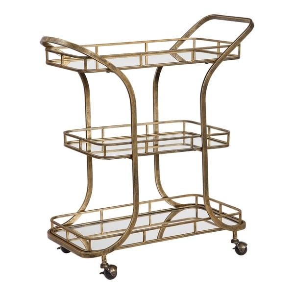 Uttermost Stassi Antiqued Gold Serving Cart