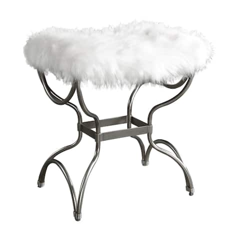 Uttermost Channon Small White Fur Bench