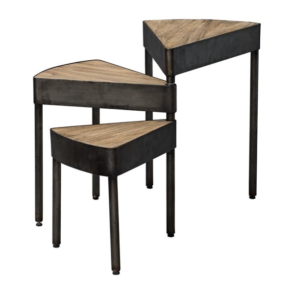 Uttermost Akito Natural Wheat and Aged Steel Swivel Nesting Table