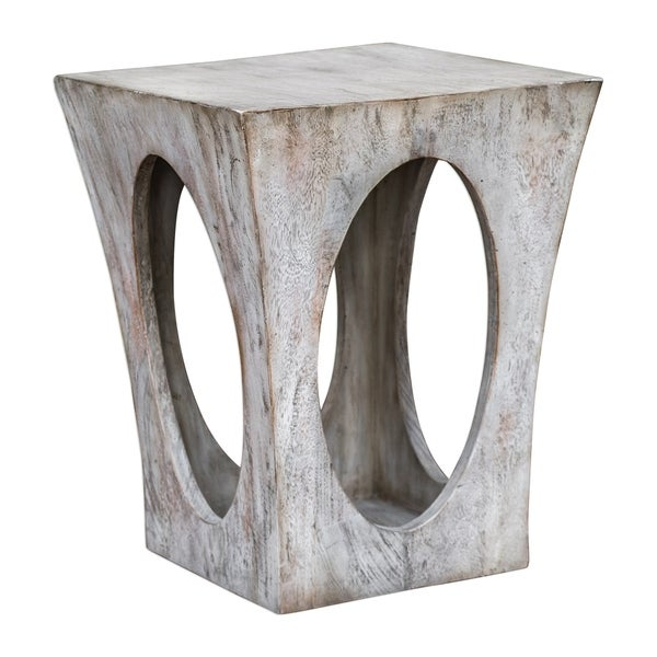 Uttermost Vernen Aged White Accent Table