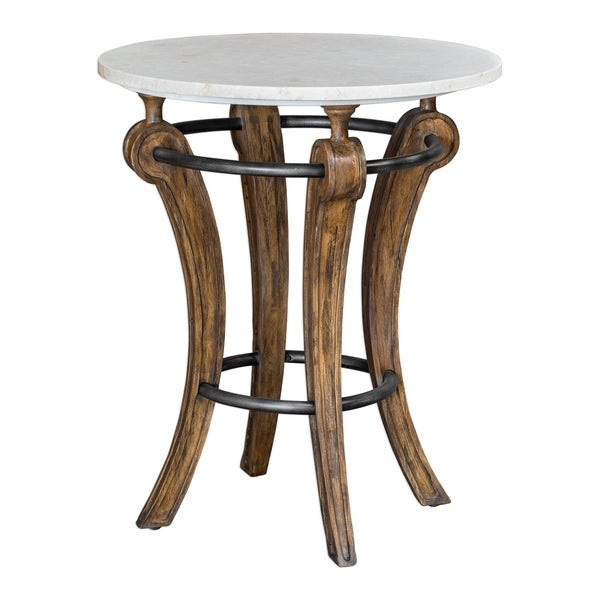 Uttermost Maryan Grey Washed Marble Accent Table