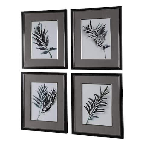 Uttermost Eucalyptus Leaves Framed Prints (Set of 4) - Grey/Black/Silver