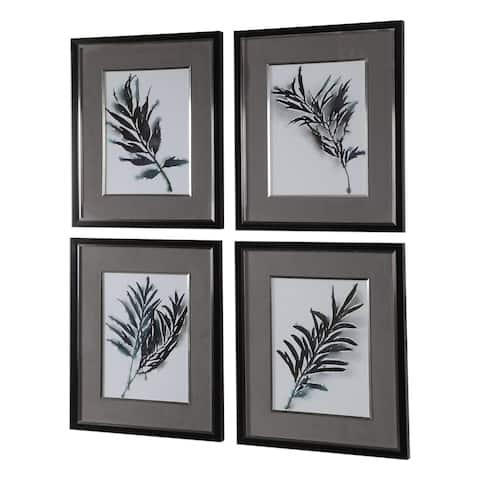 Uttermost Eucalyptus Leaves Framed Prints (Set of 4) - Grey