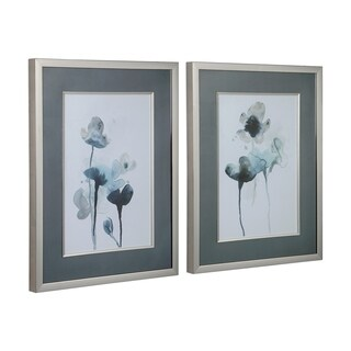 Uttermost Midnight Blossoms Framed Prints (Set of 2) - Blue/Silver/White