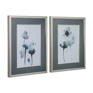 Uttermost Midnight Blossoms Framed Prints (Set of 2) - Blue/Silver/White