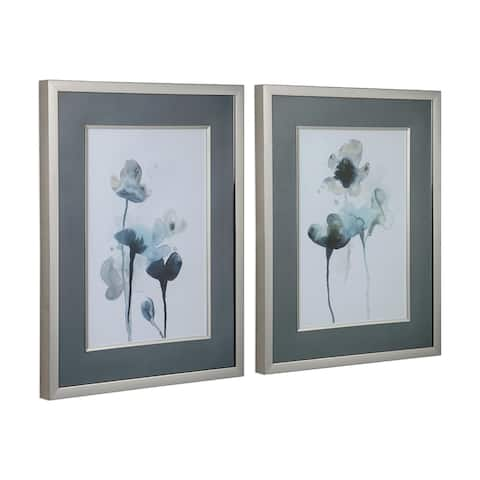 Uttermost Midnight Blossoms Framed Prints (Set of 2) - Blue