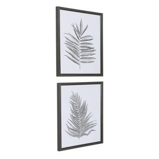 Uttermost Silver Ferns Framed Prints (Set of 2) - Grey/Black/White