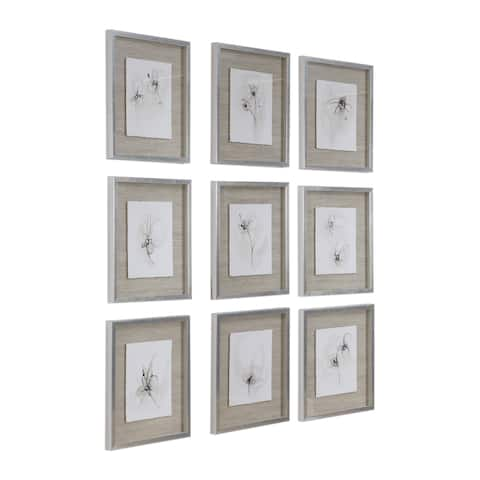 Uttermost Neutral Floral Gestures Prints (Set of 9) - Brown/Silver/White