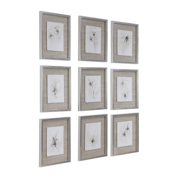 Uttermost Neutral Floral Gestures Prints (Set of 9) - Brown