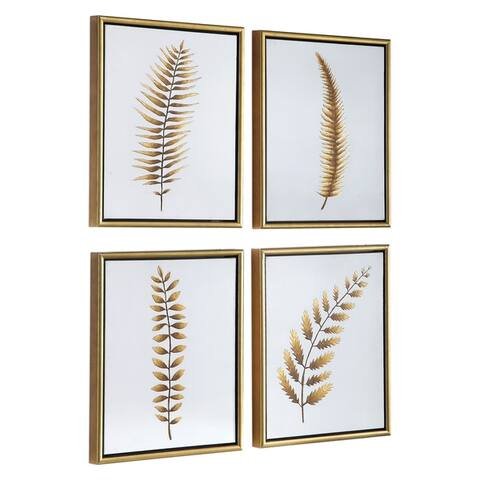 Uttermost Forest Ferns Gold Hand Painted Arts (Set of 4) - White