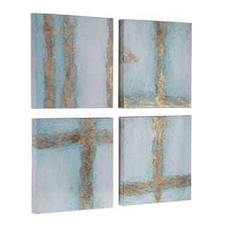 Uttermost Cross Roads Blue and Gold Contemporary Arts (Set of 4) - White