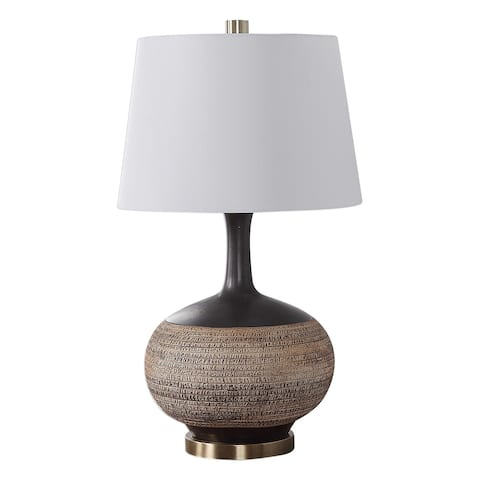 Uttermost Kipling Beige and Rustic Black Textured Table Lamp