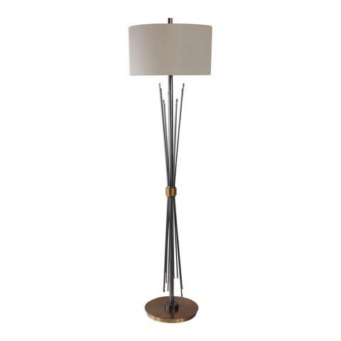 Uttermost Poloma Black Steel Rods Floor Lamp