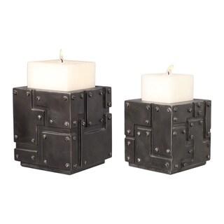 Uttermost Malak Metal Block Candleholders (Set of 2)