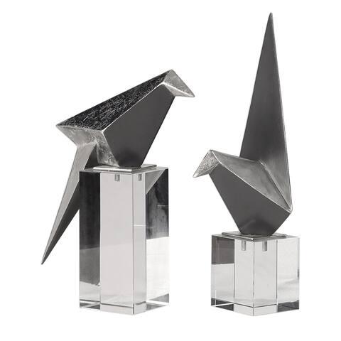 Uttermost Origami Silver Bird Figurines (Set of 2)