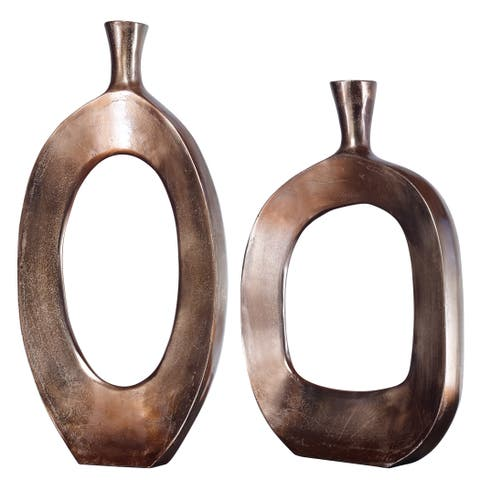 Uttermost Kyler Textured Bronze Vases (Set of 2)