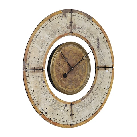 Uttermost Ezekiel Weathered Aged Ivory and Golden Brown Wall Clock