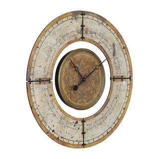 Link to Uttermost Ezekiel Weathered Aged Ivory and Golden Brown Wall Clock Similar Items in Decorative Accessories