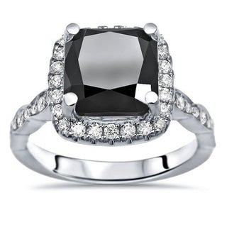 14k White Gold 3ct TGW Cushion Cut Black And White Diamond Engagement Ring