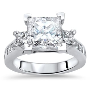Link to 14k White Gold 3 & 3/5ct TGW Princess Cut Moissanite and Diamond Engagement Ring Similar Items in Rings