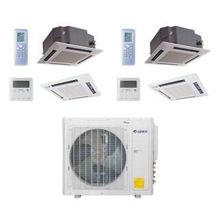 Gree MULTI30CCAS207 - 30,000 BTU Multi21+ Dual-Zone Ceiling Cassette Mini Split A/C Heat Pump 208-230V (18-18) - A/C & Heater