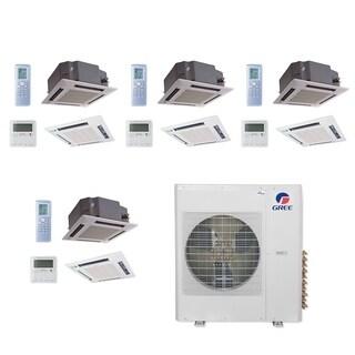 Gree MULTI36CCAS406-36,000 BTU Multi21+ Quad-Zone Ceiling Cassette Mini Split A/C Heat Pump 208-230V(12-12-12-12) - A/C & Heater