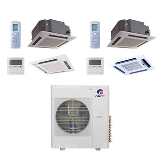 Gree MULTI36CCAS208 - 36,000 BTU Multi21+ Dual-Zone Ceiling Cassette Mini Split A/C Heat Pump 208-230V (18-24) - A/C & Heater
