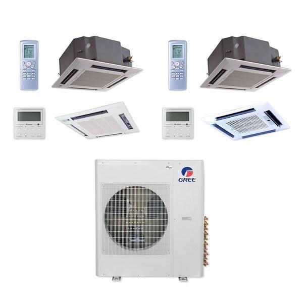Gree MULTI36CCAS206 - 36,000 BTU Multi21+ Dual-Zone Ceiling Cassette Mini Split A/C Heat Pump 208-230V (12-24) - A/C & Heater