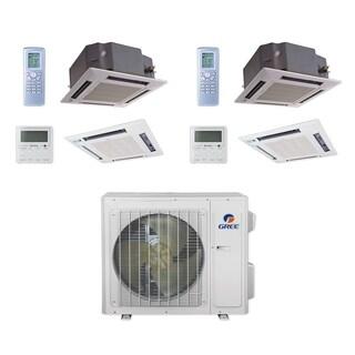Gree MULTI24CCAS205 - 24,000 BTU Multi21+ Dual-Zone Ceiling Cassette Mini Split A/C Heat Pump 208-230V (18-18) - A/C & Heater