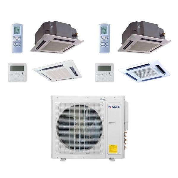 Gree MULTI30CCAS208 - 30,000 BTU Multi21+ Dual-Zone Ceiling Cassette Mini Split A/C Heat Pump 208-230V (18-24) - A/C & Heater